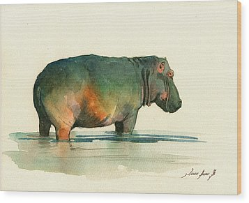 Hippo Watercolor Painting Wood Print by Juan  Bosco