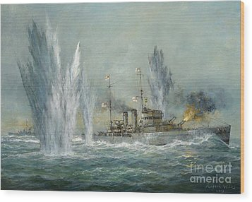 Hms Exeter Engaging In The Graf Spree At The Battle Of The River Plate Wood Print by Richard Willis