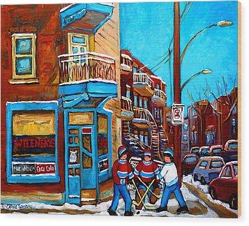 Hockey At Wilensky's Diner Montreal Wood Print by Carole Spandau
