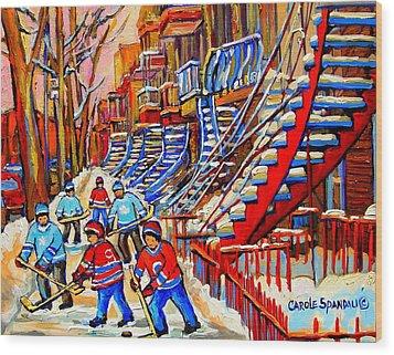 Hockey Game Near The Red Staircase Wood Print by Carole Spandau