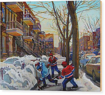 Hockey On De Bullion  Wood Print by Carole Spandau