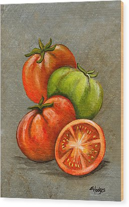 Home Grown Tomatoes Wood Print by Elaine Hodges