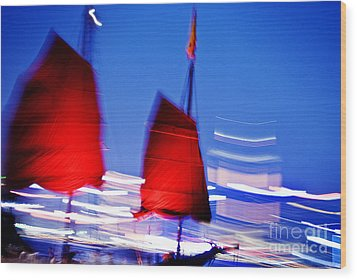 Hong Kong Lights Wood Print by Ray Laskowitz - Printscapes