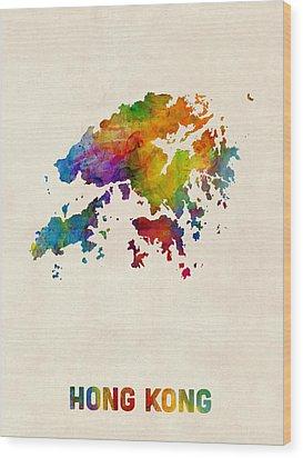 Hong Kong Watercolor Map Wood Print by Michael Tompsett