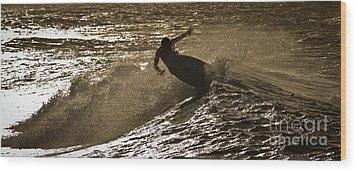 Hookipa Maui Surfer At Sunset Wood Print by Denis Dore