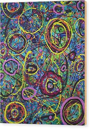 Hoopla Wood Print by Lynda Lehmann