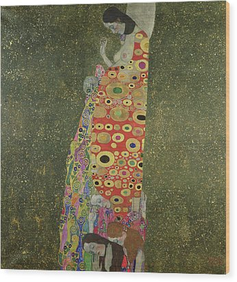 Hope II Wood Print by Gustav Klimt