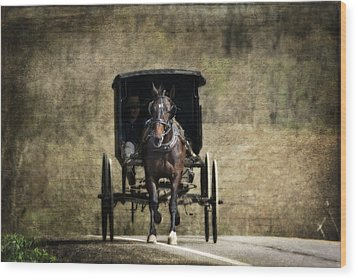 Horse And Buggy Wood Print by Tom Mc Nemar