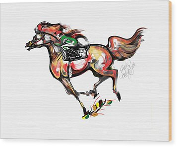 Horse Racing In Fast Colors Wood Print by Stacey Mayer