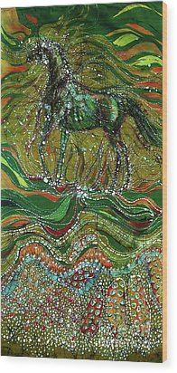 Horse Rises From The Earth Wood Print by Carol Law Conklin