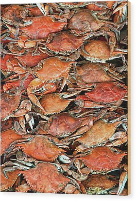 Hot Crabs Wood Print by Sky Noir Photography by Bill Dickinson