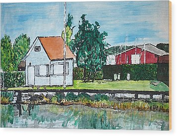 House By The Lake Wood Print by Monica Engeler