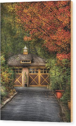 House - Classy Garage Wood Print by Mike Savad