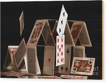 House Of Cards Wood Print by Jan Piller