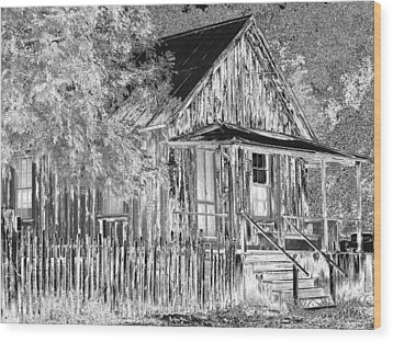 House On The Hill Wood Print by Athala Carole Bruckner