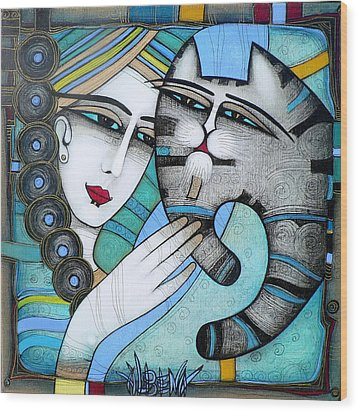 hug Wood Print by Albena Vatcheva