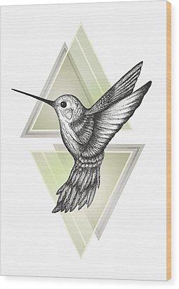 Hummingbird Wood Print by Barlena