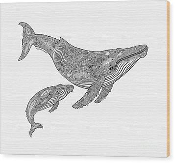 Humpback And Calf Wood Print by Carol Lynne