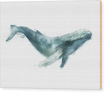 Humpback Whale From Whales Chart Wood Print by Amy Hamilton