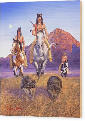 Hunters Of The Full Moon Wood Print by Howard Dubois