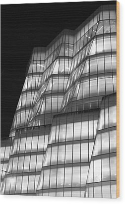 Iac Building Night Time  Wood Print by Christopher Kirby