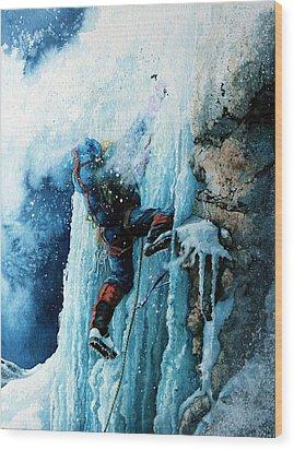Ice Climb Wood Print by Hanne Lore Koehler