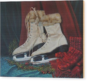 Ice Skates And Mittens Wood Print by Patty Kay Hall