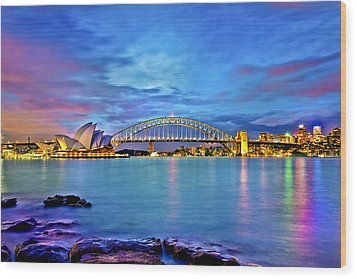 Icons Of Sydney Harbour Wood Print by Az Jackson