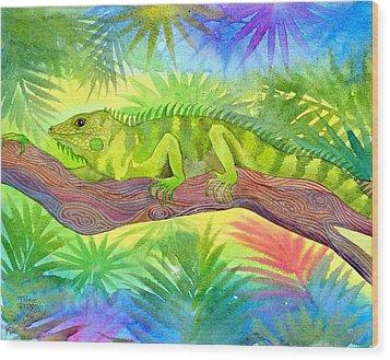 Iguana Wood Print by Jennifer Baird