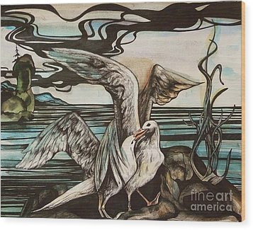 In Memory Of Deceased Friend. Wood Print by Anna  Duyunova