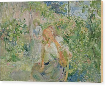 In The Garden At Roche Plate Wood Print by Berthe Morisot