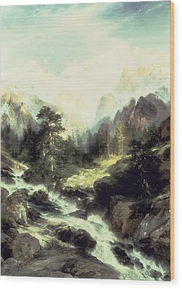 In The Teton Range Wood Print by Thomas Moran
