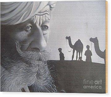 Indian Face Wood Print by Dhiraj Parashar