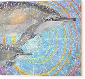 Infinite Dolphin Universe Wood Print by Tamara Tavernier