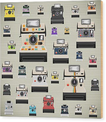 Instant Camera Pattern Wood Print by Setsiri Silapasuwanchai