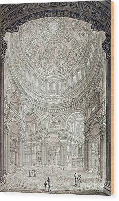Interior Of Saint Pauls Cathedral Wood Print by John Coney