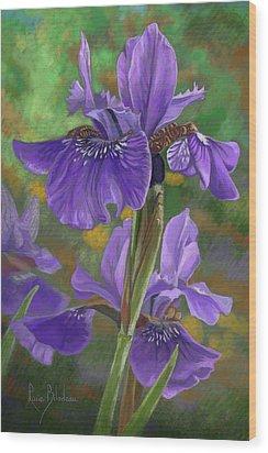 Irises Wood Print by Lucie Bilodeau