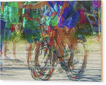 Ironman Bicyclist 2109 Wood Print by David Mosby