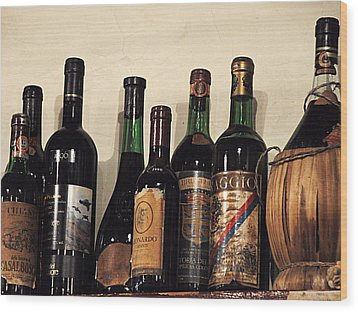 Italian Wine Wood Print by Marion McCristall
