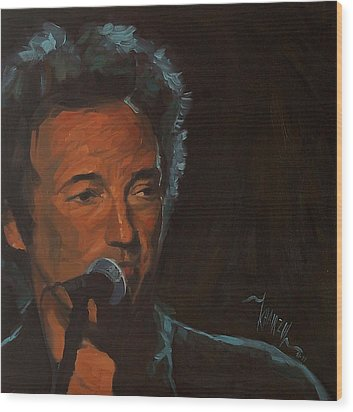 It's Boss Time - Bruce Springsteen Portrait Wood Print by Khairzul MG