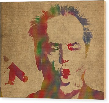 Jack Nicholson Smoking A Cigar Blowing Smoke Ring Watercolor Portrait On Old Canvas Wood Print by Design Turnpike