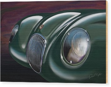 Jaguar C Type Wood Print by David Kyte