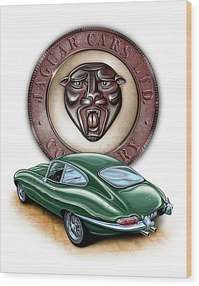 Jaguar Xke British Racing Green Wood Print by David Kyte