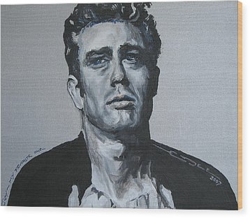 James Dean One Wood Print by Eric Dee