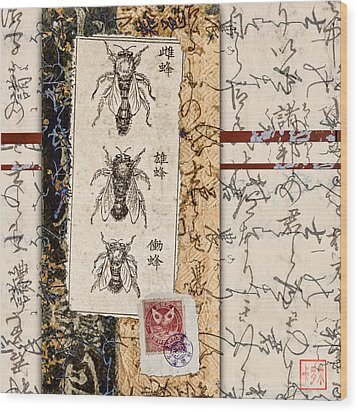 Japanese Bees Wood Print by Carol Leigh