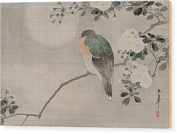 Japanese Silk Painting Of A Wood Pigeon Wood Print by Japanese School