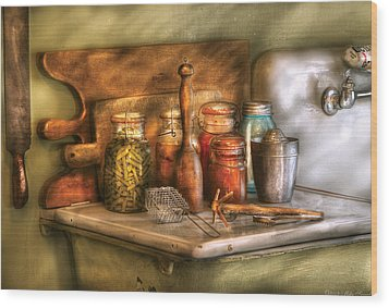 Jars - The Process Of Canning Wood Print by Mike Savad