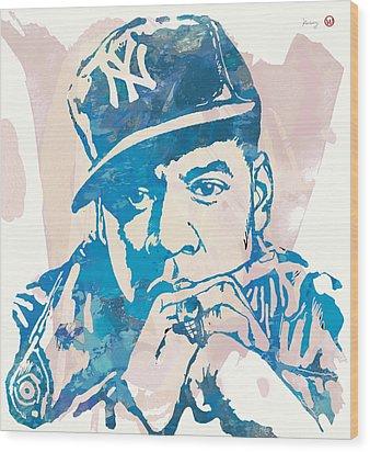 Jay-z  Etching Pop Art Poster Wood Print by Kim Wang