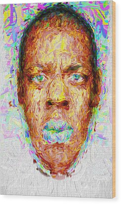 Jay Z Painted Digitally 2 Wood Print by David Haskett