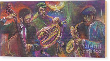 Jazz Jazzband Trio Wood Print by Yuriy  Shevchuk